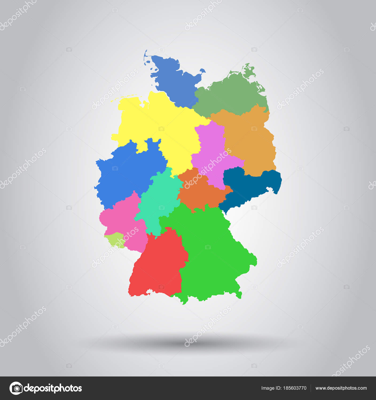 germany map with federal states icon flat vector illustration stock vector