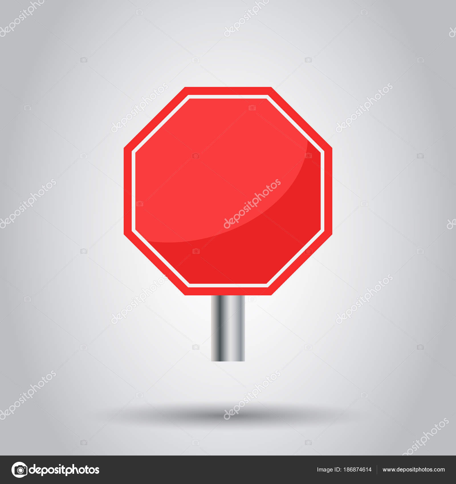 Blank Red Stop Sign Vector Icon Empty Danger Symbol Vector Illu