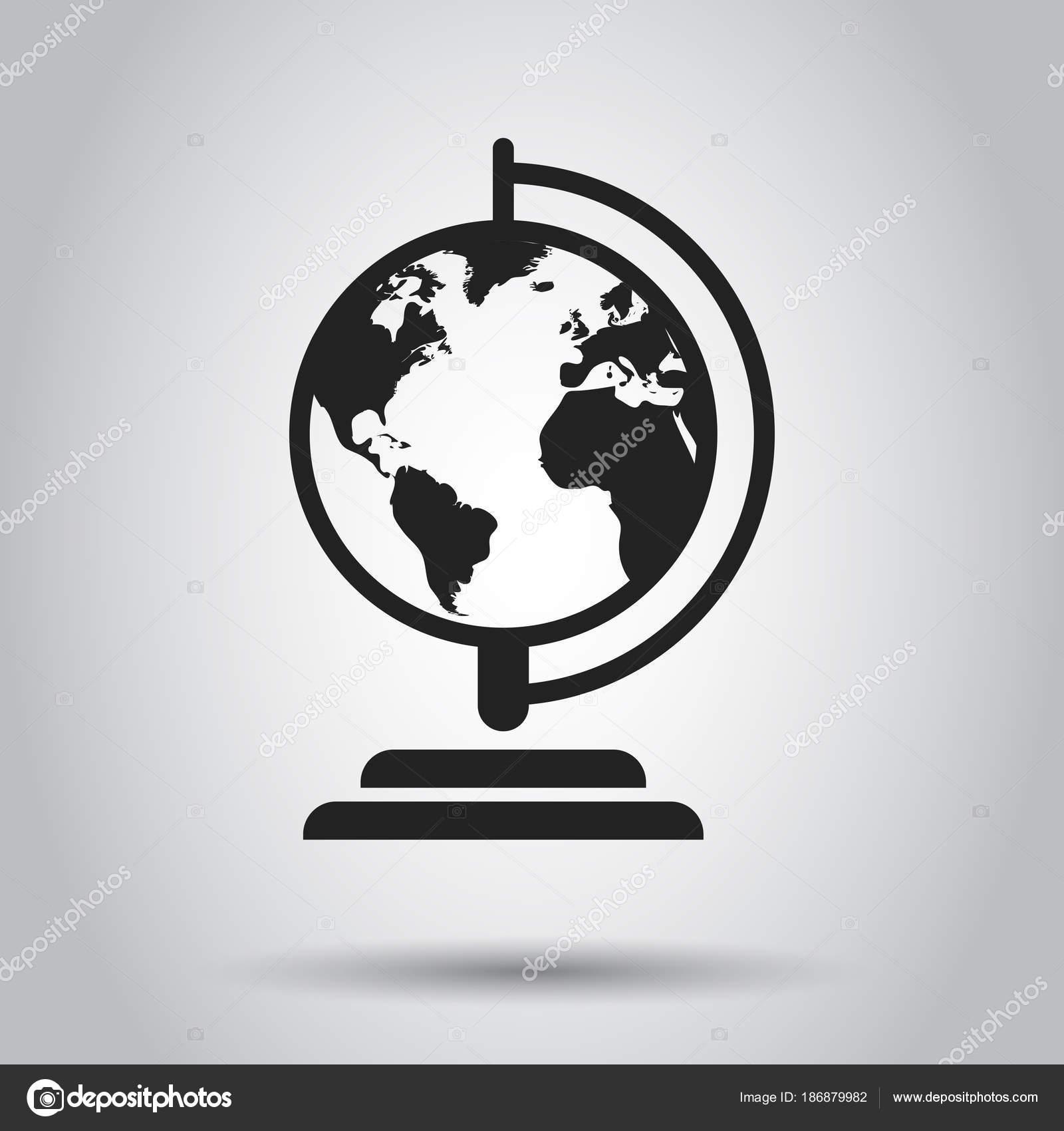 Round Globe Map.Globe World Map Vector Icon Round Earth Flat Vector Illustratio