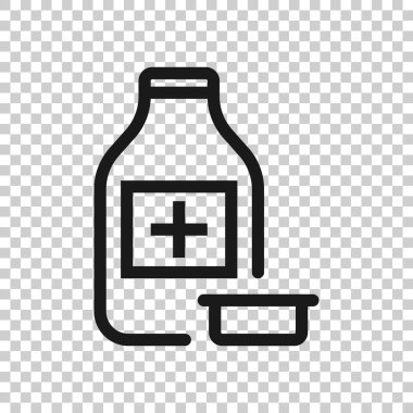 Pill bottle icon in flat style. Drugs vector illustration on white isolated background. Pharmacy business concept.