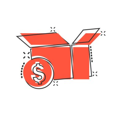 Shipping box with dollar icon in comic style. Container cartoon vector illustration on white isolated background. Cardboard package splash effect business concept. icon
