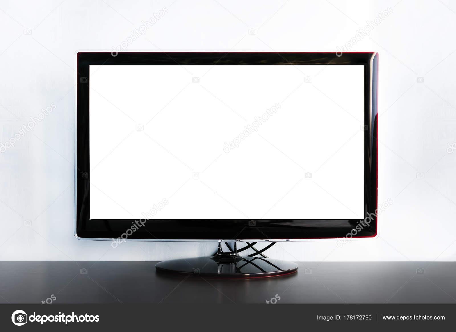 Breitbild Tv Auf Holzerne Kommode In Der Nahe Von Grauen Wand