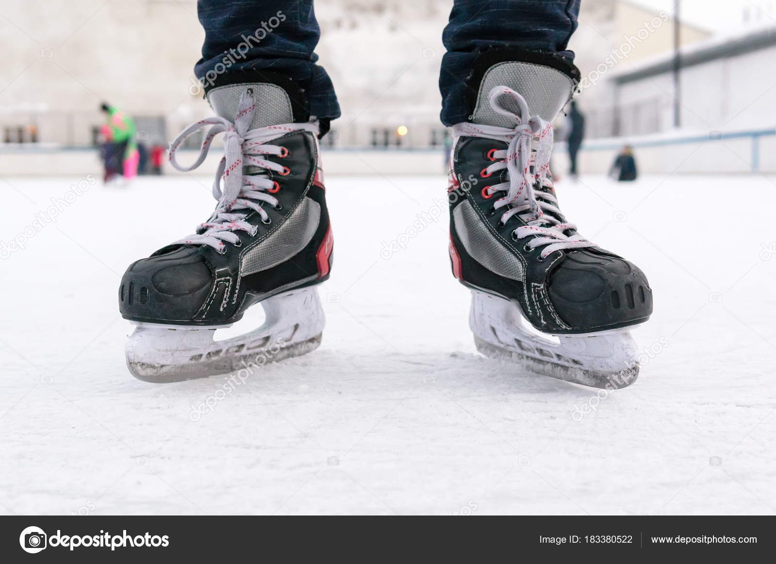 Old Sports Hockey Skates On A Man S Leg On The Ice Stock Photo