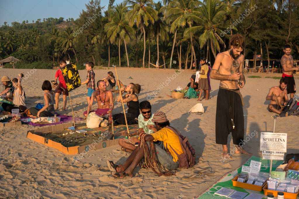 local hippies sell hand-made goods at a flea market in Gokarna