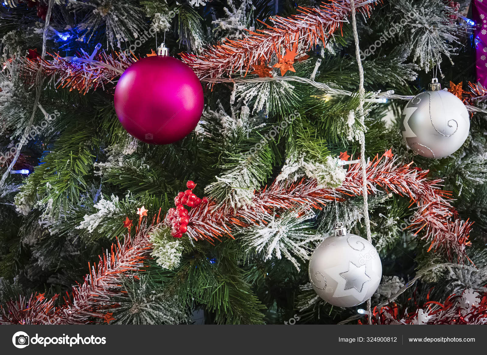 Closeup Of Green Christmas Tree And Pink Ball Decorations Colorful Balls And Garlands On A Fir Branch Stock Photo C Diy13 Ya Ru 324900812
