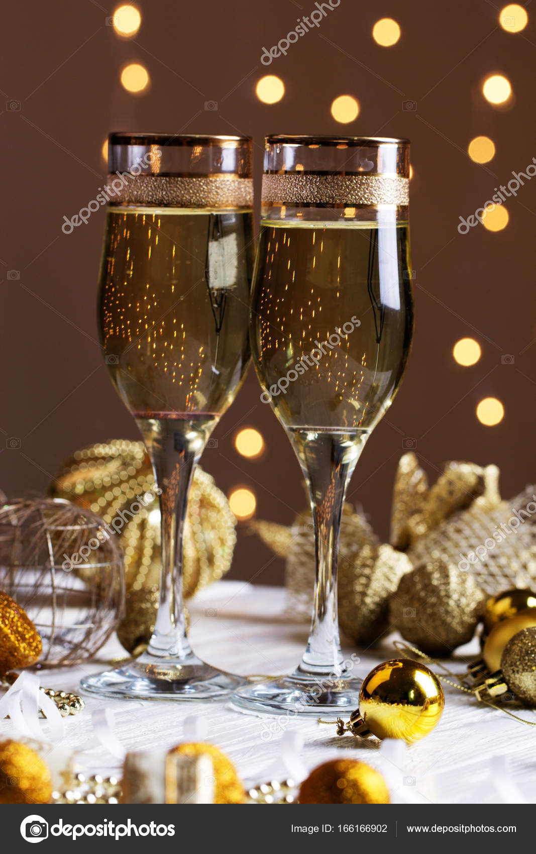 christmas decorations with wineglass stock photo