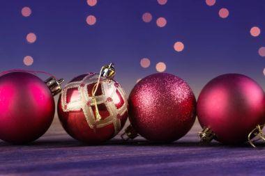 Group of beautiful decorative christmas balls.
