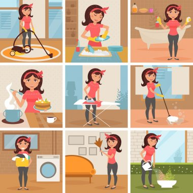 Housewife. Cleaning, cooking, washing,