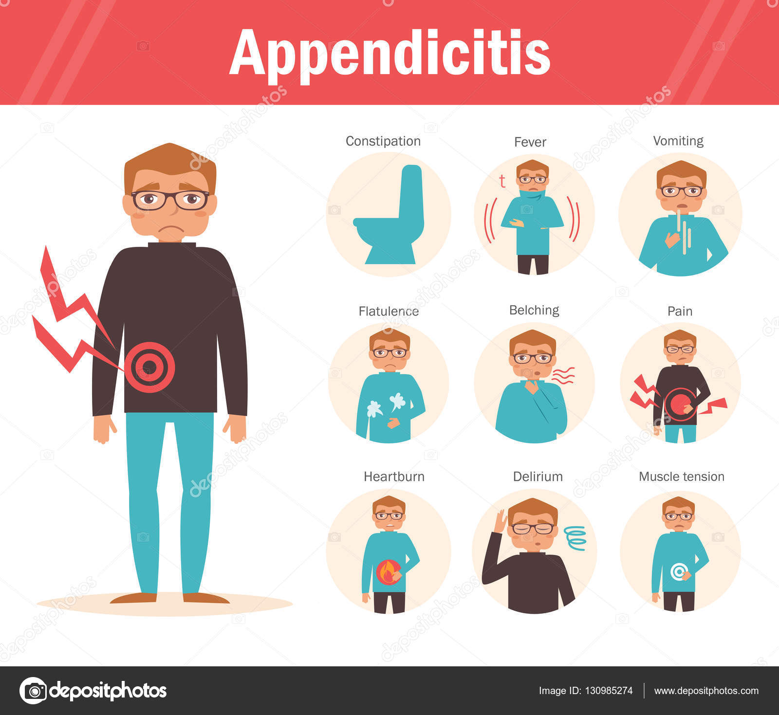 symptoms of appendicitis — stock vector © annaviolet #130985274, Human Body