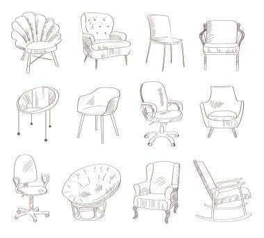 Set with the chairs. Vector illustration. Hand drawn. Indoor stock vector