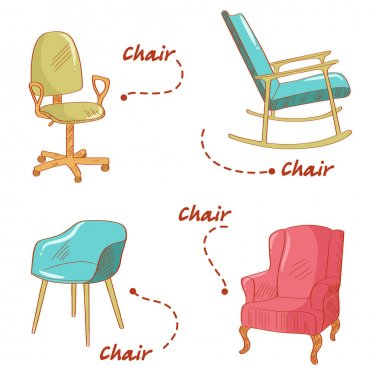 Set with the chairs  illustration