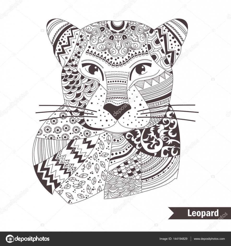 Coloriage Bebe Leopard.Leopard Livre De Coloriage Image Vectorielle Annaviolet C 144194829