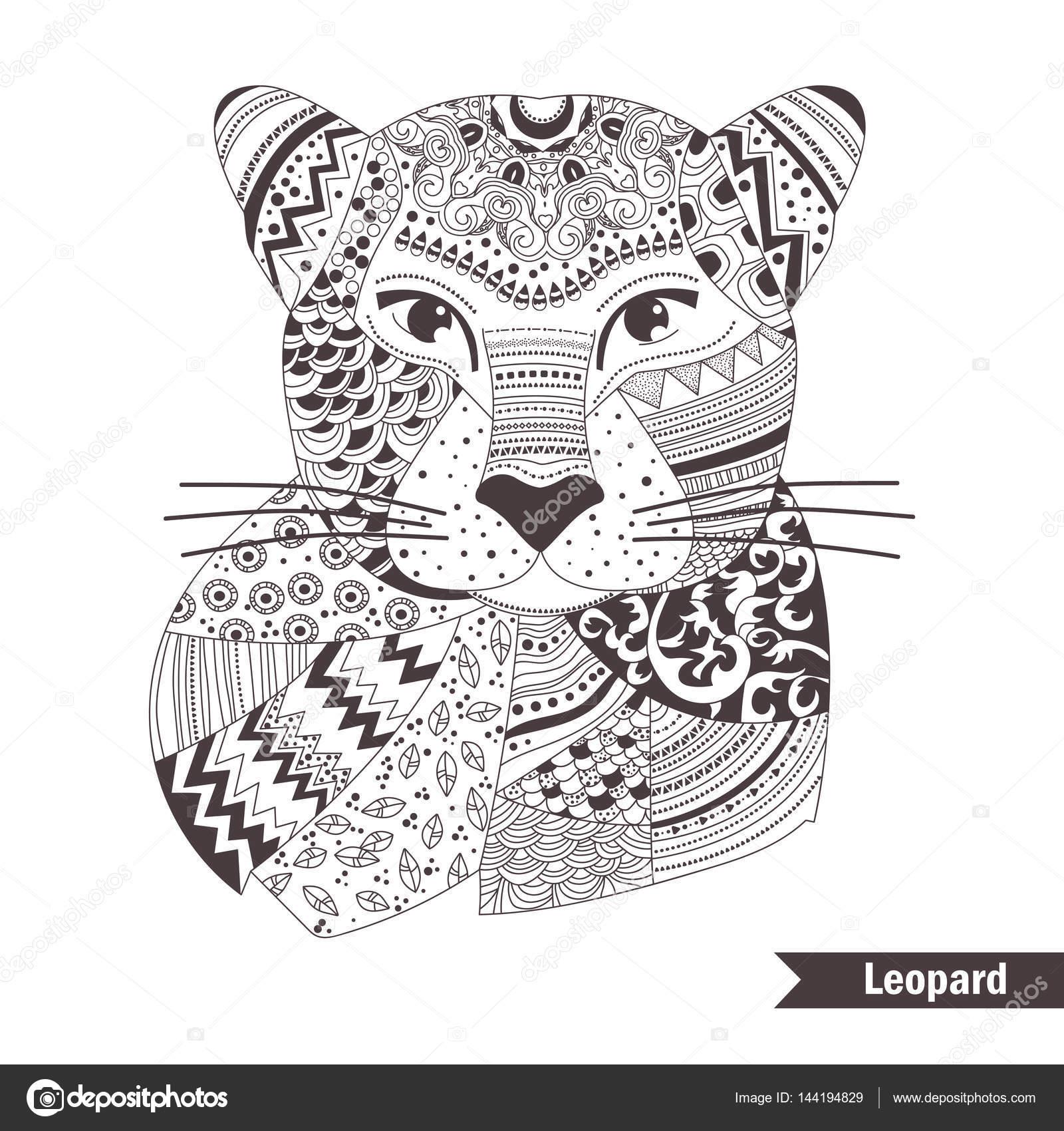 luipaard kleurboek stockvector 169 annaviolet 144194829