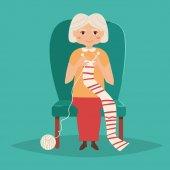 Elderly woman knits.