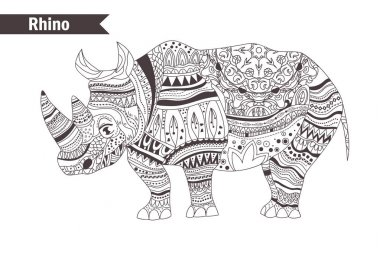 Rhino in zentangle style
