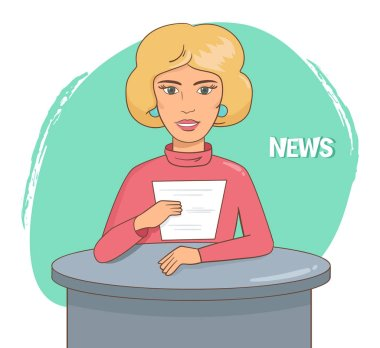 Flat style of news presenter