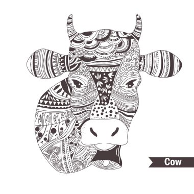 Doodle cow with a bell.