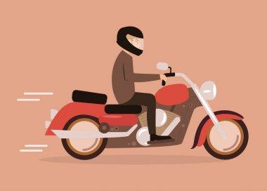 Cartoon man on a motorcycle