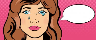 Crying girl in style pop art.