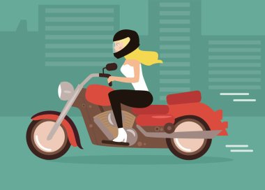 Cartoon girl on a motorcycle
