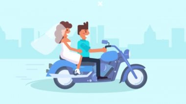 Extreme wedding. Flat. 2d. animation