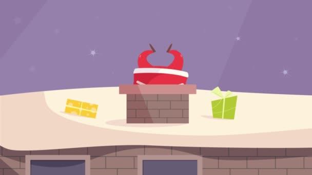 Weihnachtsmann erklimmt den Schornstein