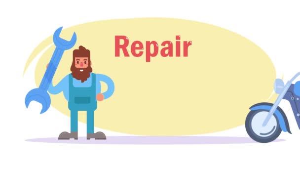 Opravy motocyklů. Animace. Karikatura. Byt