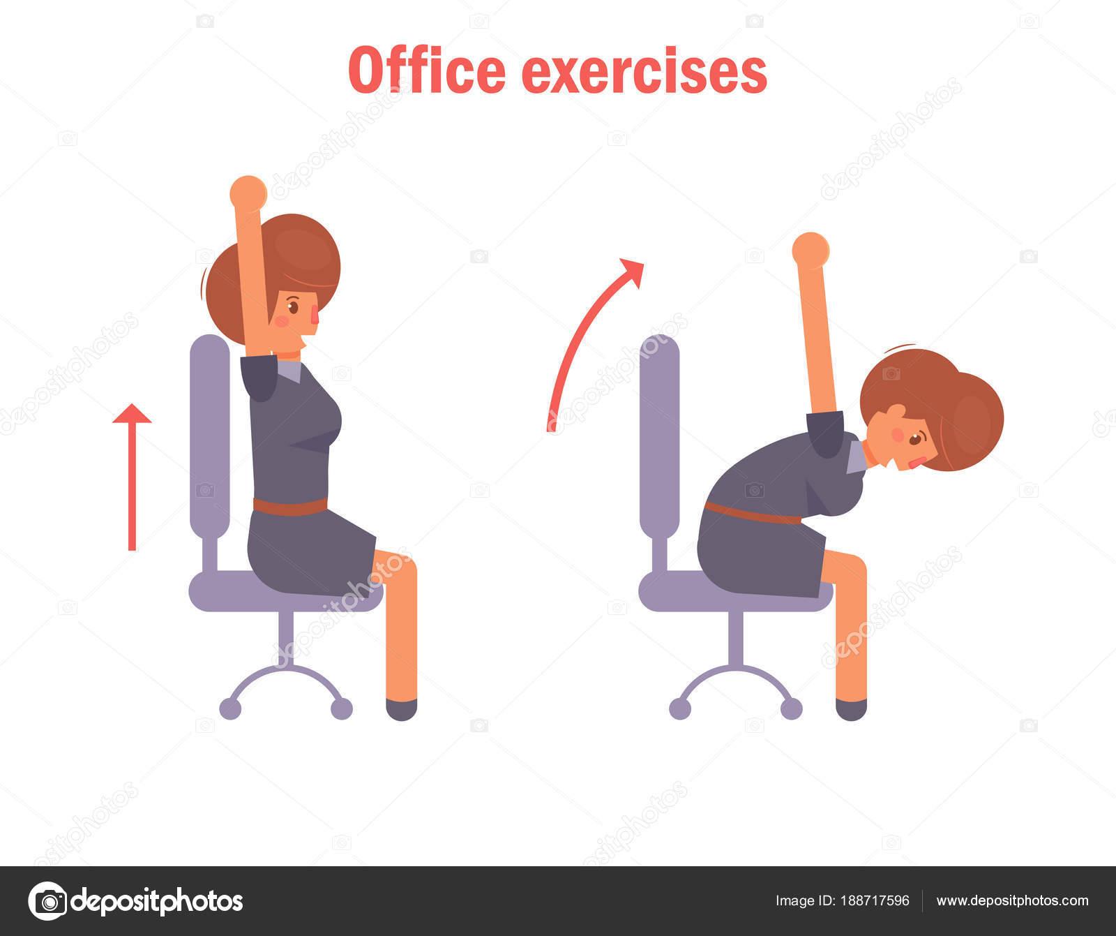 Büro übungen Mit Einem Stuhl Stockvektor Annaviolet 188717596