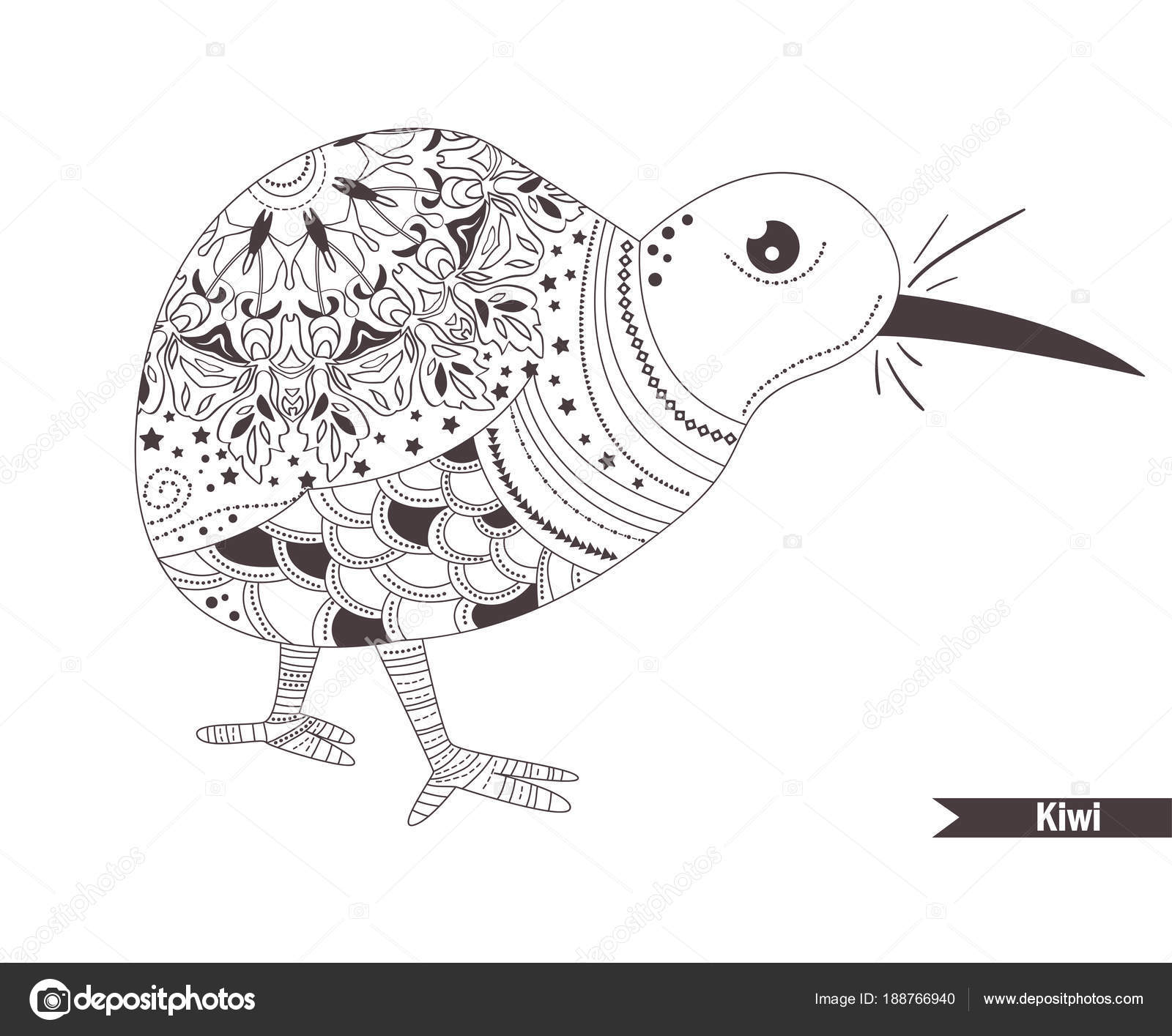 Kiwi. Libro para colorear — Archivo Imágenes Vectoriales ...