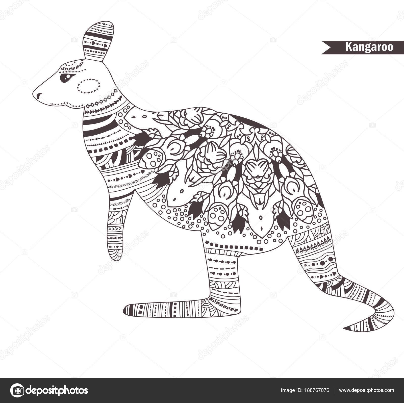 Coloriage Mandala Kangourou.Kangourou Livre De Coloriage Image Vectorielle Annaviolet