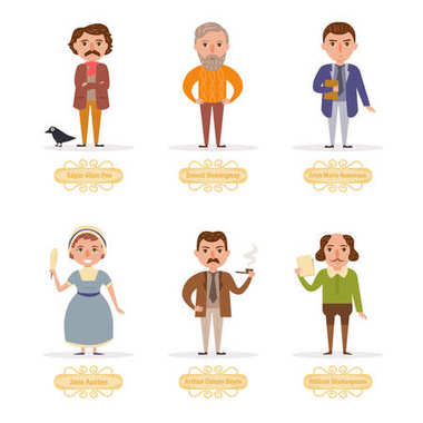 Famous writers. Vector. Cartoon.