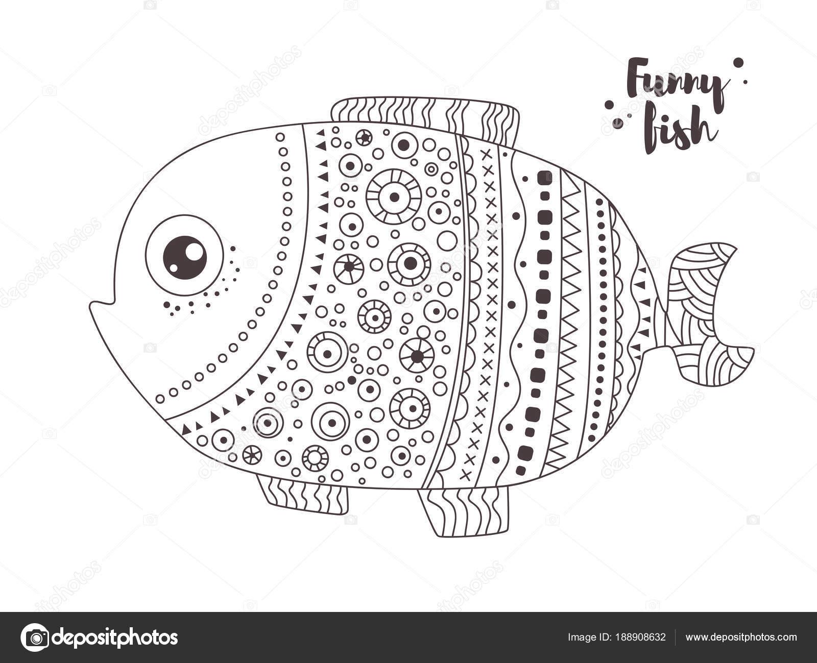 Divertidos peces. Libro para colorear — Archivo Imágenes Vectoriales ...