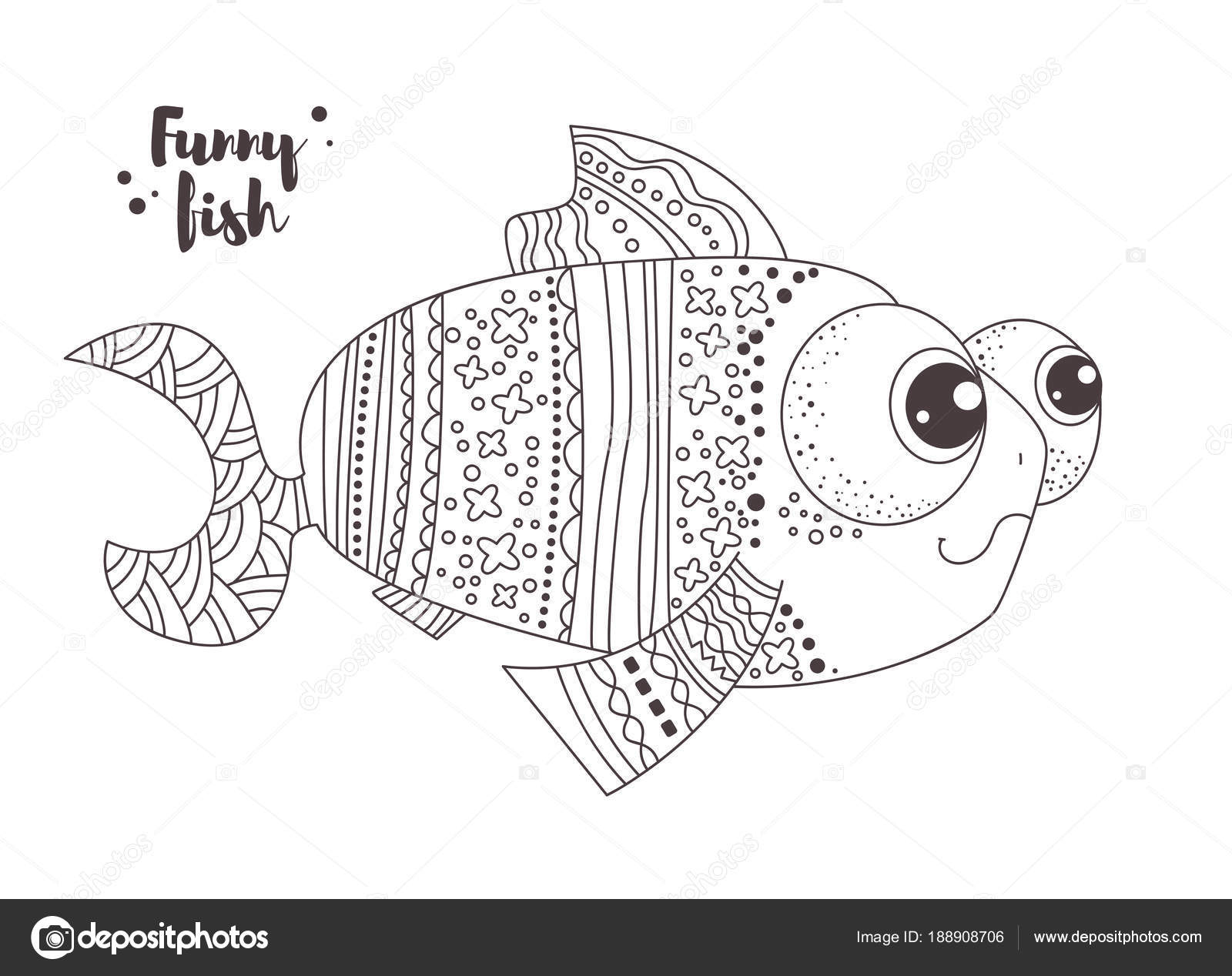 Funny fish. Coloring book — Stock Vector © AnnaViolet #188908706