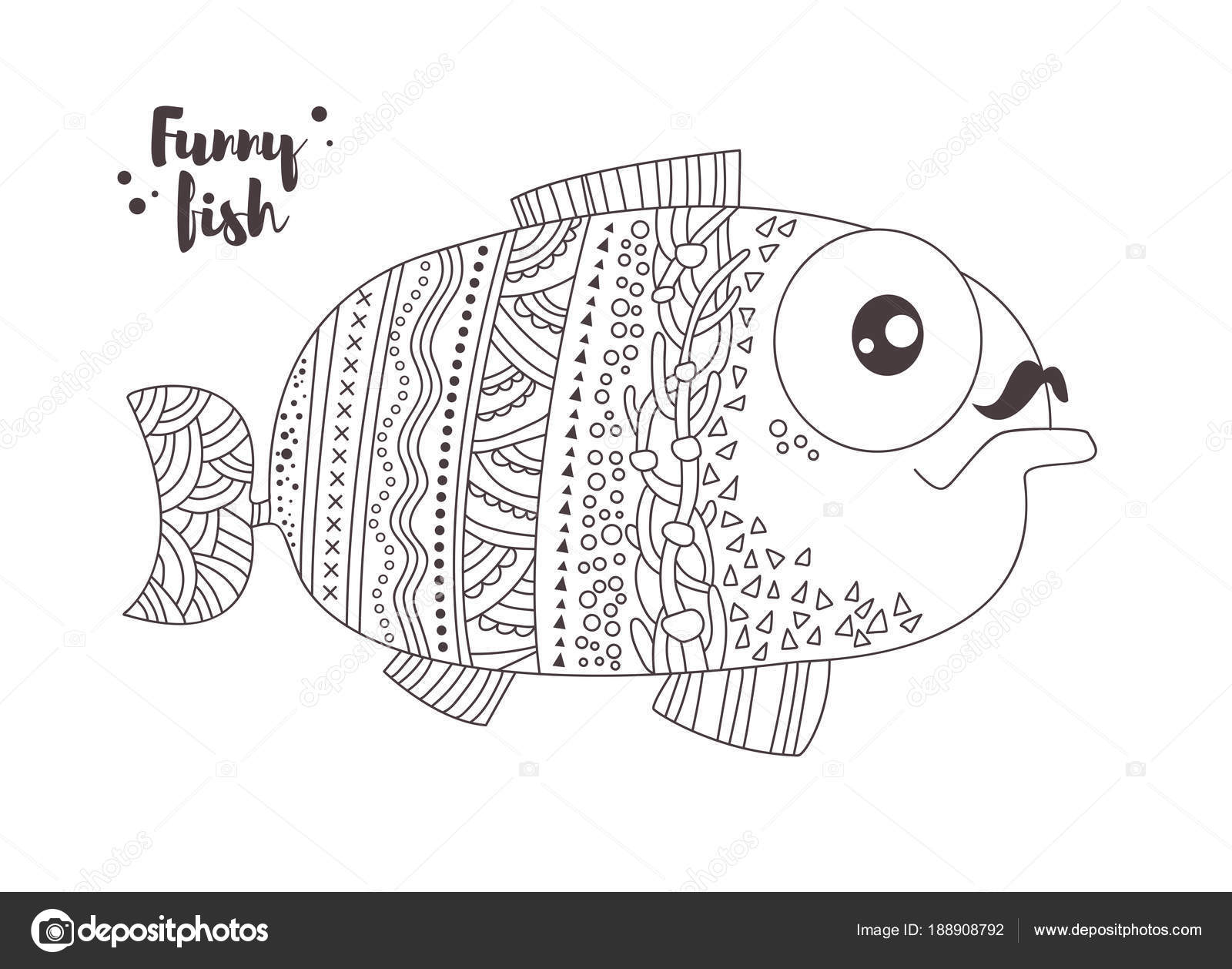 Funny fish. Coloring book — Stock Vector © AnnaViolet #188908792