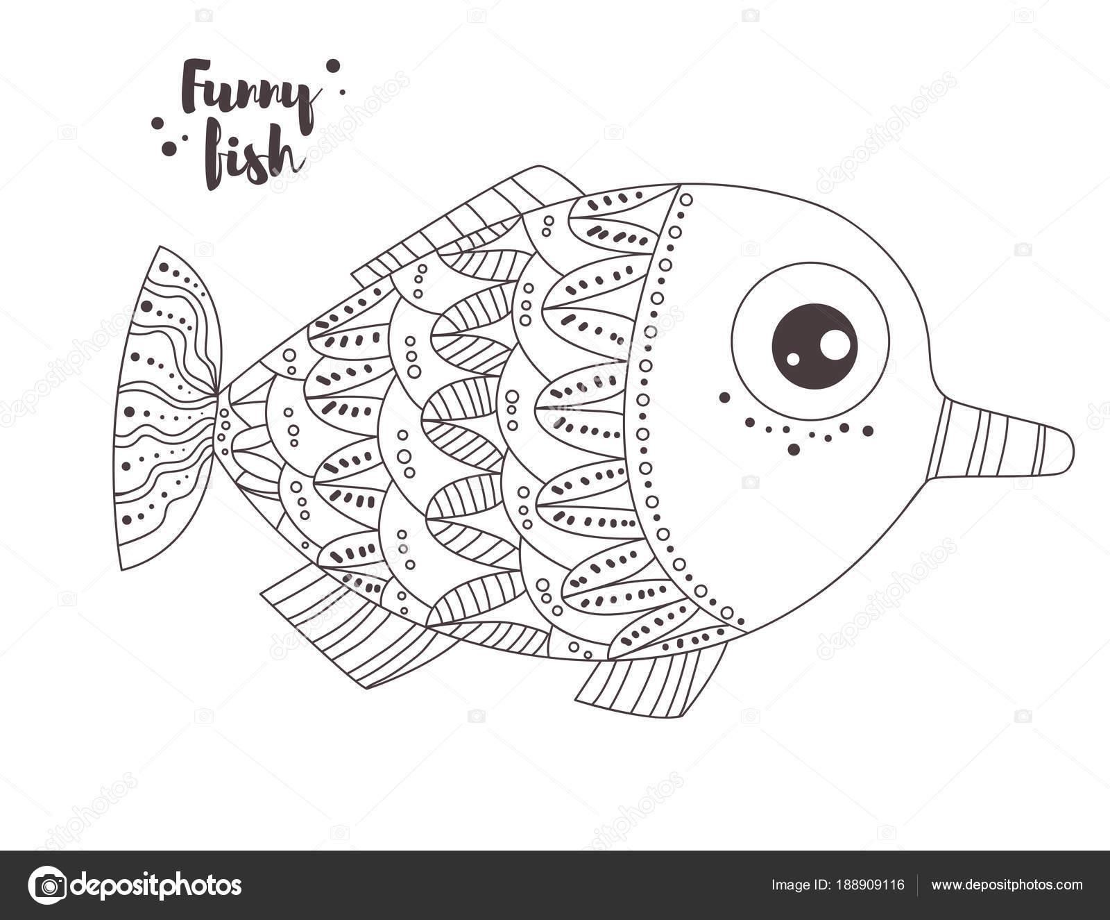 Divertidos peces. Libro para colorear — Vector de stock © AnnaViolet ...