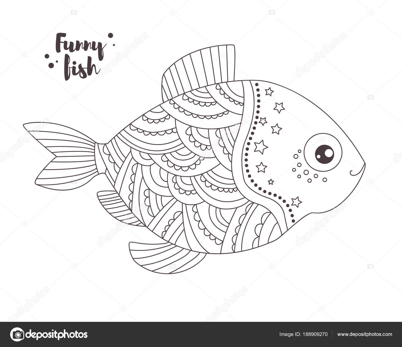 смешные рыбы книжка раскраска векторное изображение