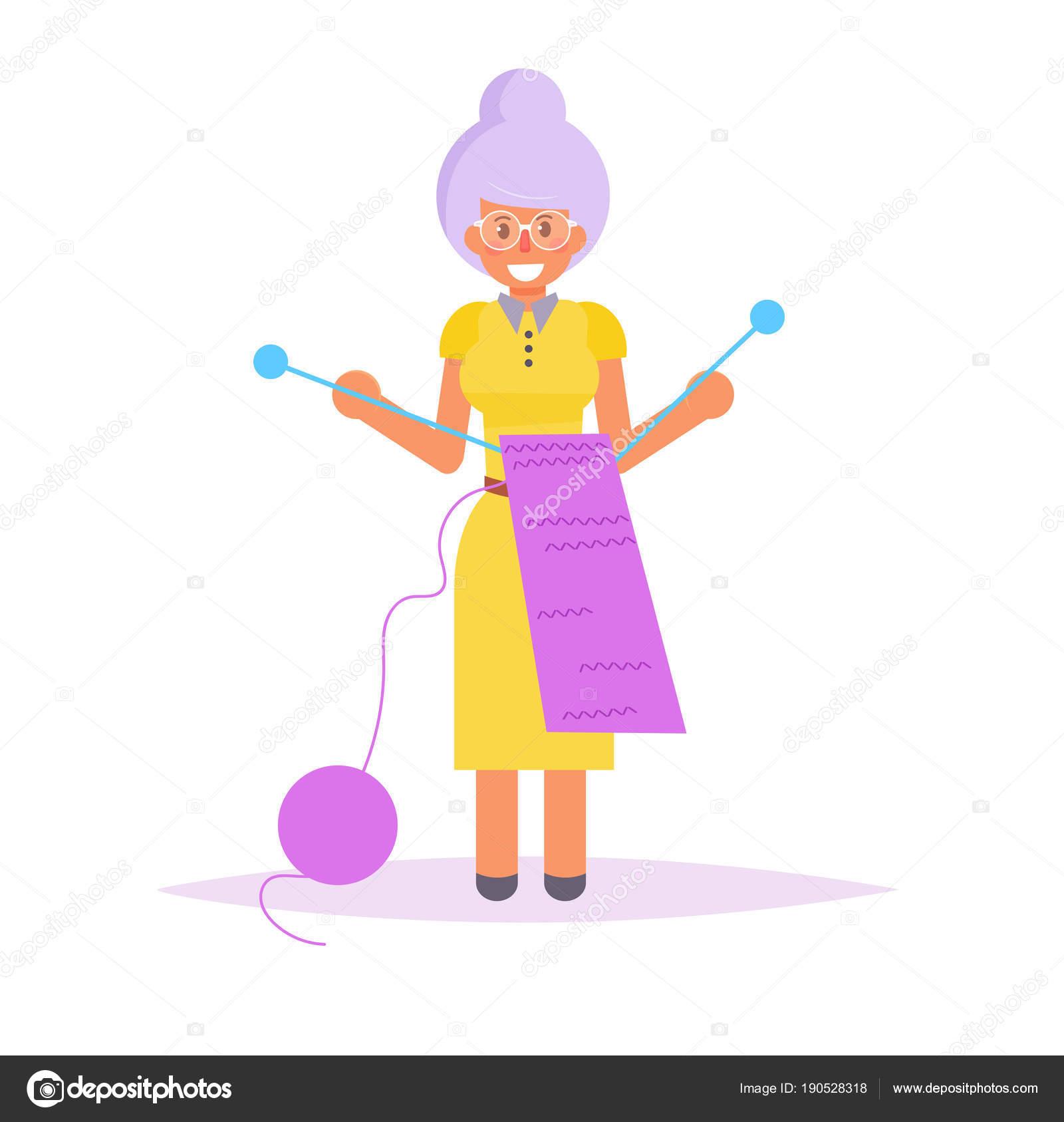 Abuela tejer una bufanda aislada, vector — Vector de stock ...