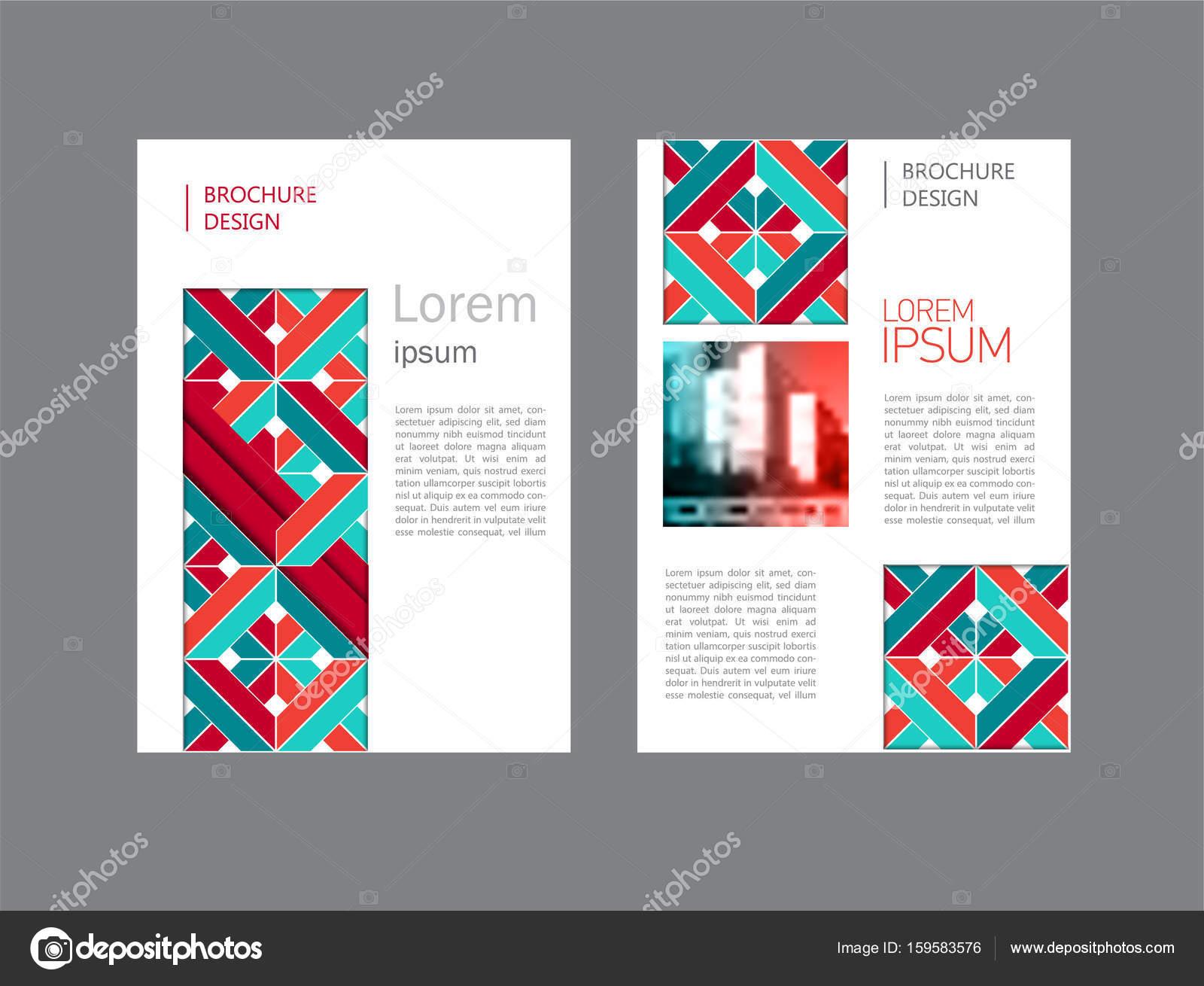 Reihe Von Bunten Unternehmensbroschüre Dokument Deckblatt