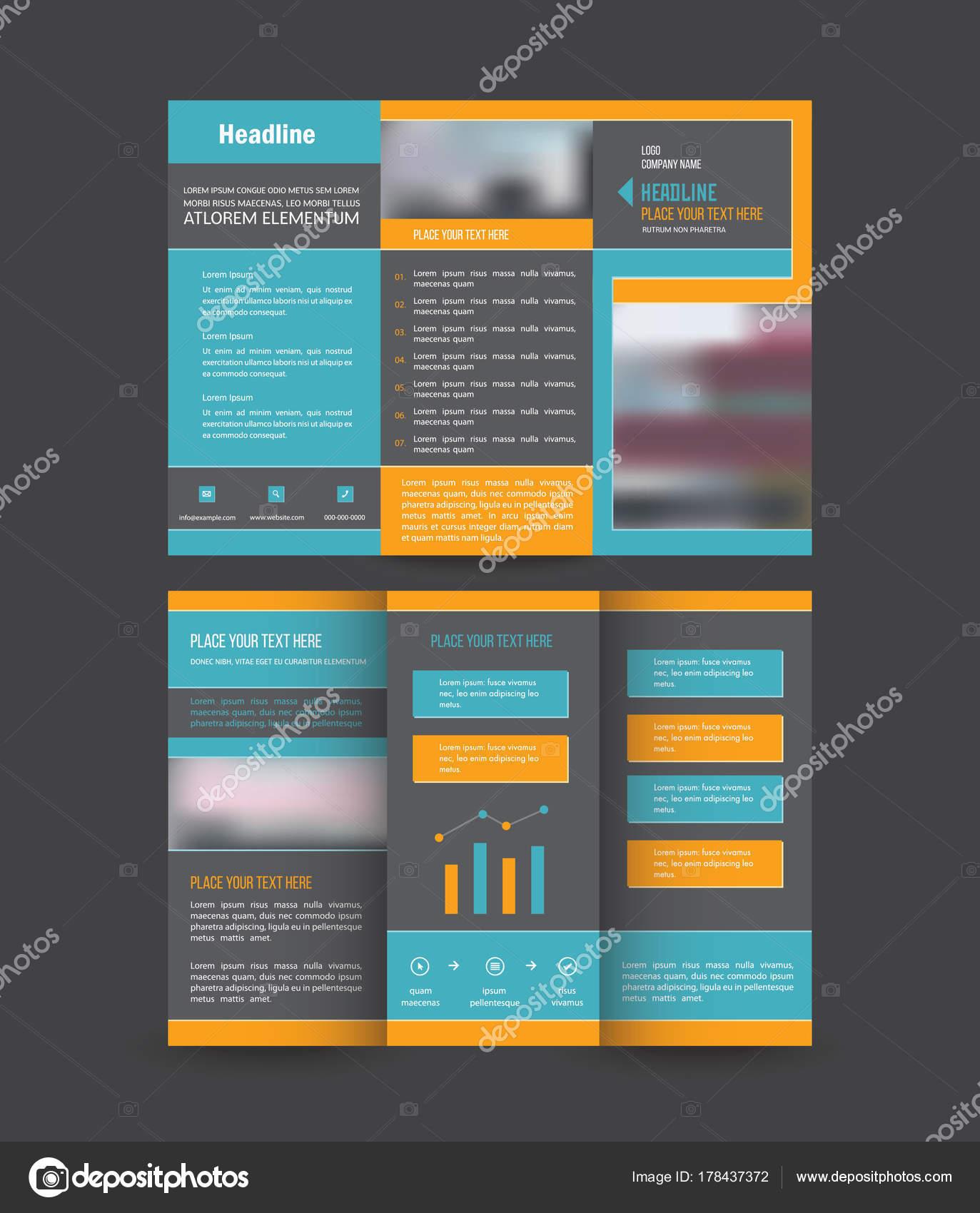 Plantillas Diseño Folleto Para Tríptico Flyer Folleto Sobre Fondo ...