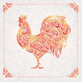 Floral Rooster symbol of chinese new year