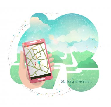 Hand with mobile phone and navigation