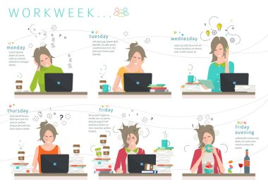 Concept of workweek of office employee