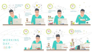 Concept of one working day of office employee