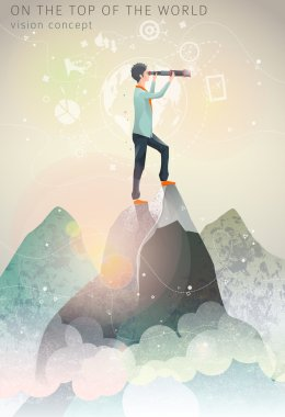 man on the top of mountain with telescope in his hands