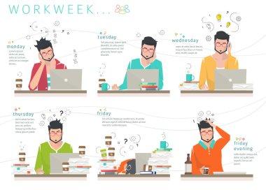 Concept of workweek of office employee