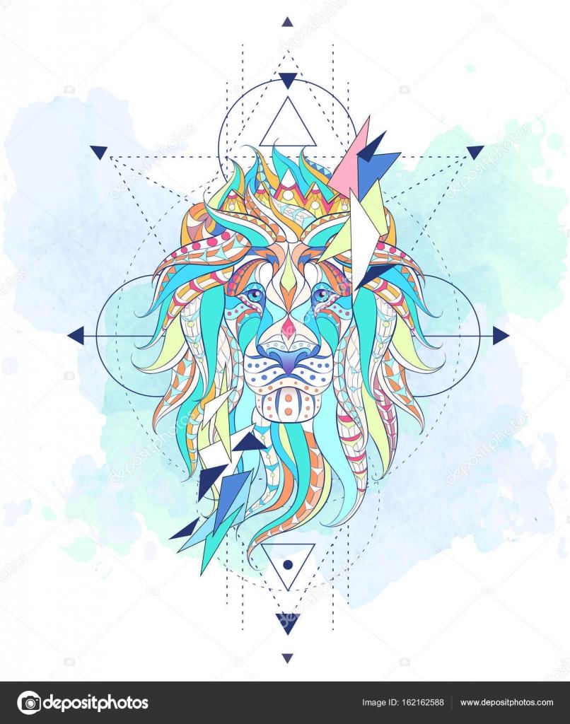 Motif Tete De Lion Avec Geometrie Image Vectorielle