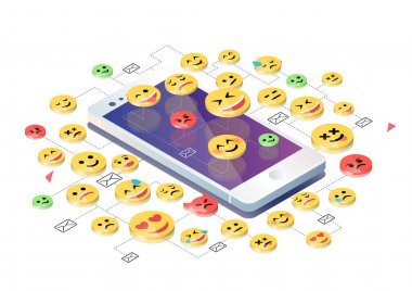 Isometric design with mobile phone and emoticons