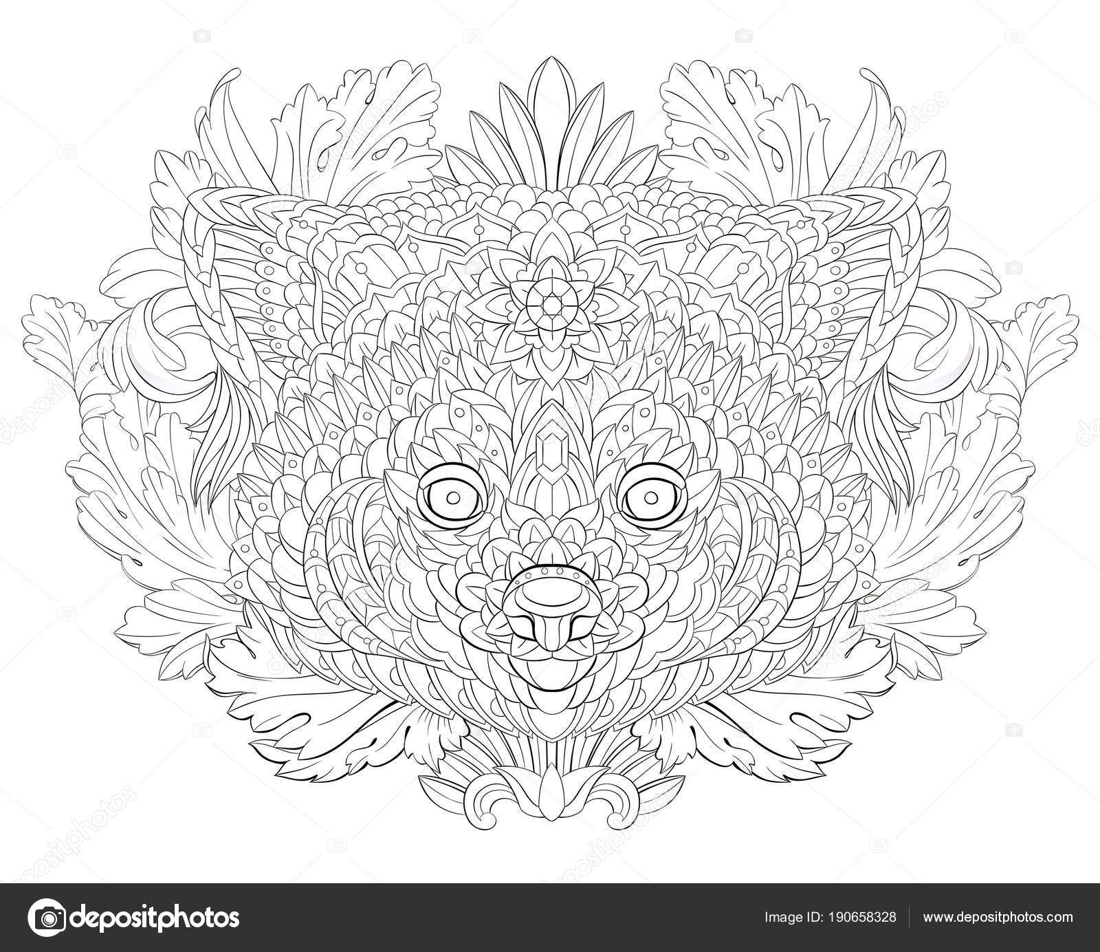 Patterned Red Panda Floral Background Tattoo Design May Used