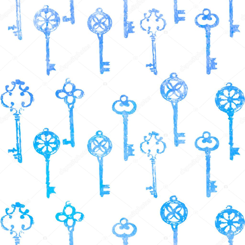 Different watercolor blue key hand drawn illustration isolated on white, seamless vector pattern, decorative background, designed texture, ornament for greeting card, package, wallpaper, invitation