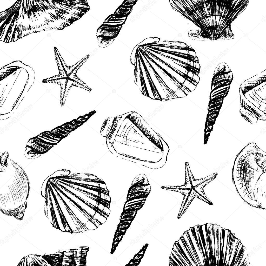 Seashells hand drawn vector graphic etching sketch isolated on white background, seamless pattern, underwater artistic marine texture, design for greeting card, decorative textile, water fabric
